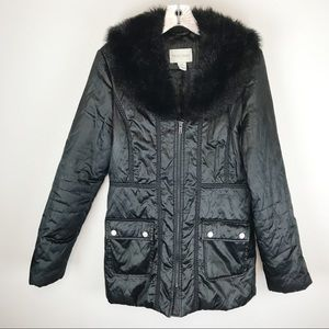 WHBM Black Puffer Hooded Faux Fur Jacket